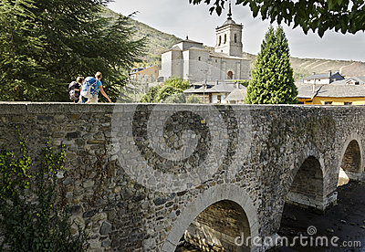 Molinaseca Bridge Editorial Stock Photo