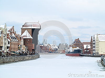 Moltawa river and the crane in Gdansk, Poland