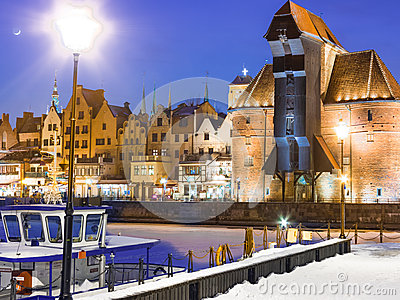 Moltawa river and the crane Gdansk Poland. Winter night scenery