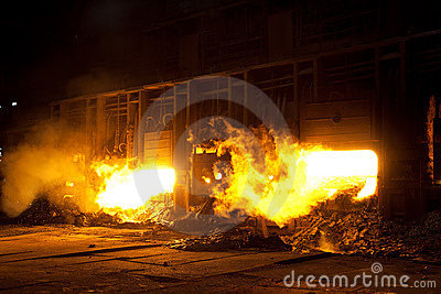 Molten steel in blast furnace