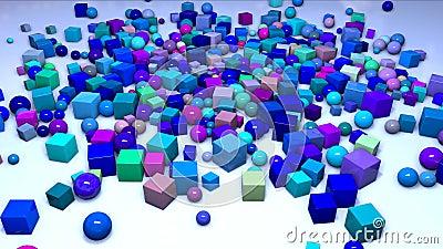 Molti sfere e cubi cadono da sopra nella struttura sull'aereo e volano lungo  Composizione interessante 3d di archivi video