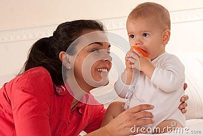 Mom admiring her baby