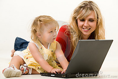 Mom and baby with laptop