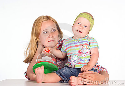 Mom with baby at table