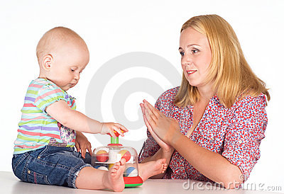 Mom and baby at table