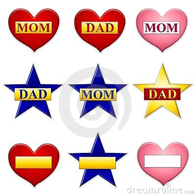 Mom and Dad Stars Hearts Icons