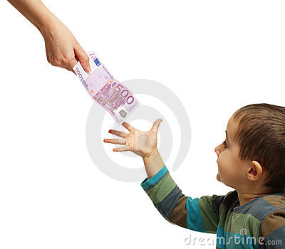 Mom gives pocket money to her son