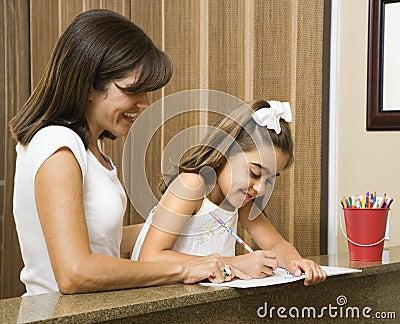 Mom helping daughter.
