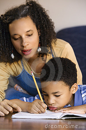Free Mom Helping Son With Homework Royalty Free Stock Photography - 2045027