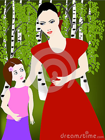 Mom with her daughter in the woods. Vector Illustration