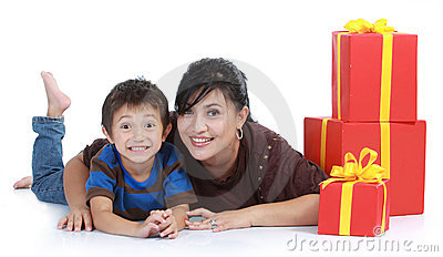 Mom and kid with a stack of gift.