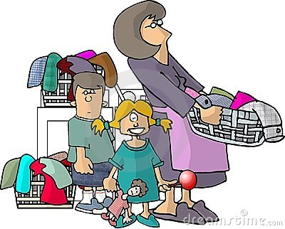 Mom, kids and their laundry