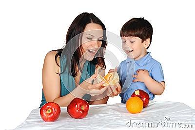 Mom och henne son