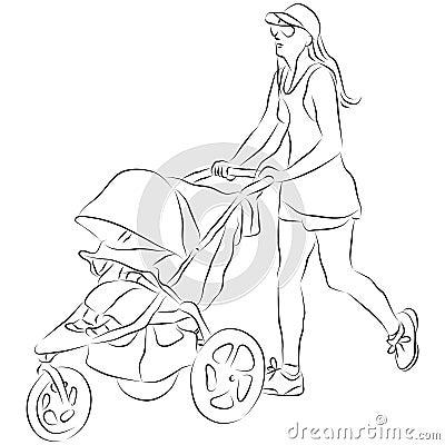 Mom Pusing Baby Stroller