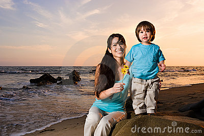 Mom and son on beach 2