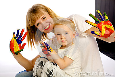 Mom and son paint colors