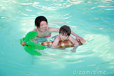 Mom and Son swimming