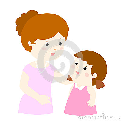 Free Mom Talk To Her Daughter Gently Cartoon Royalty Free Stock Images - 64676259