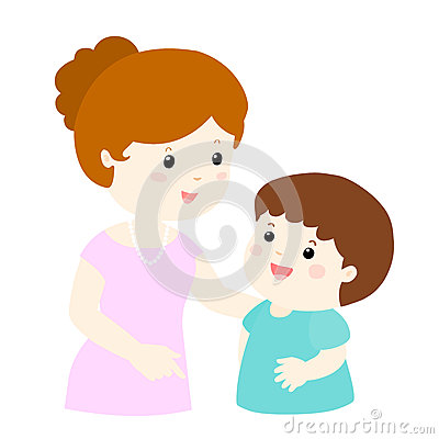 Free Mom Talk To Her Son Gently Cartoon Stock Images - 64676264