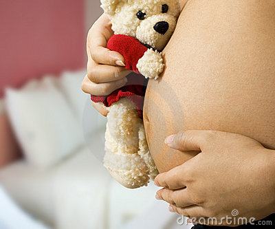 Mom With Teddy Expecting A Baby