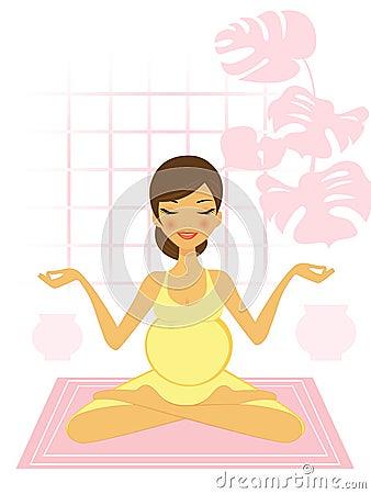 Mom to be praticing yoga