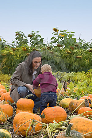 Mom and Toddler pumpkin farm