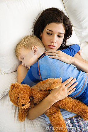 Free Mom With Sleeping Child. Stock Images - 3423744