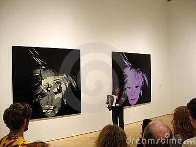 MOMA docent speaks about Andy Warhol self-portrait Editorial Photography