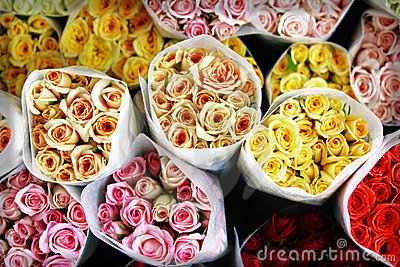 Mommy bouquets, colored roses - Top view