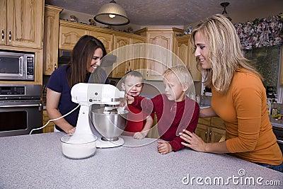 Moms teaching kids to bake