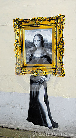 Mona Lisa Out Of Frame Catman Painting Editorial Photo