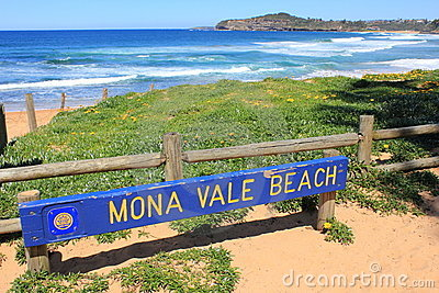Mona Vale Beach signboard and coast