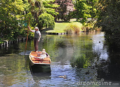 Mona Vale - Punting on The Avon, Christchurch Editorial Photo