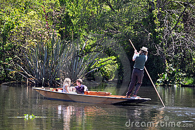 Mona Vale - Punting on The Avon, Christchurch Editorial Stock Photo
