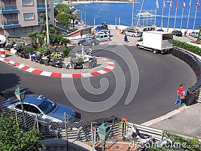 Monaco Circuit - Loews Hotel Curve Editorial Stock Photo