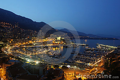 Monaco and his port at night