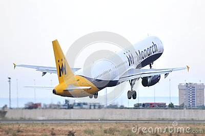 Monarch airlines united kingdow low cost company takes elevation maniobre airport of alicante Editorial Stock Photo