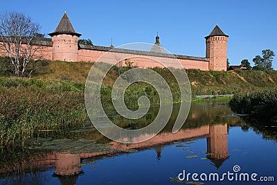 Monastery reflects in Kameka river