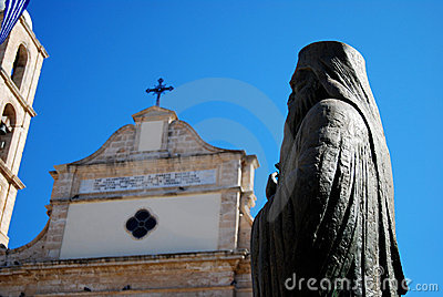 Monastery and statue in Chania
