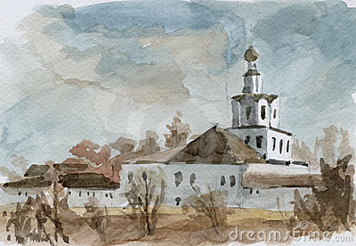Monastery. Watercolor