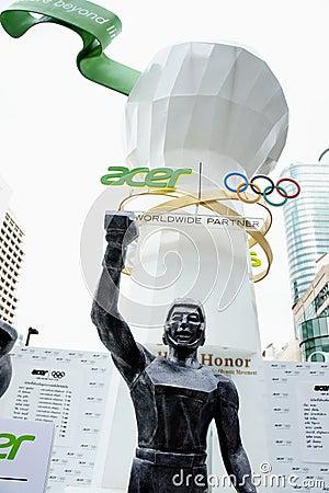 Monde central, borne limite de Jeux Olympiques d Acer Image stock éditorial