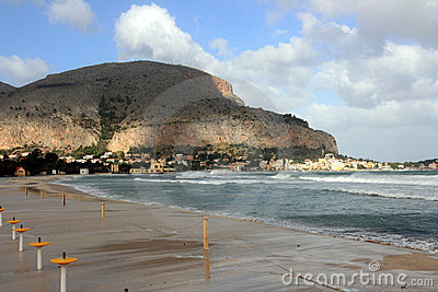 Mondello beach, Island of Sicily, Italy