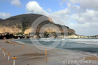Mondello beach, Island of Sicily, Italy