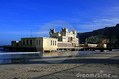 Mondello beach, liberty sea building. Italy