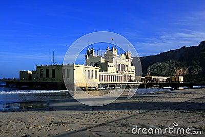 Mondello beach, liberty sea building. Italy