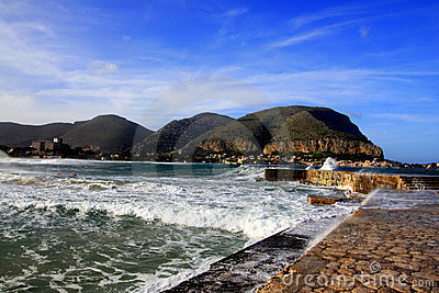 Mondello, Wharf & sea waves  Island of Sicily