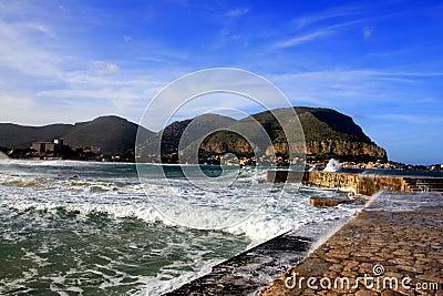 Mondello, Wharf & sea waves  Island of Sicily