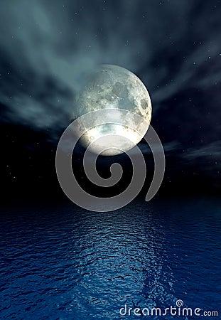 Mondschein-Ozean
