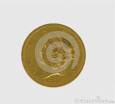 Moneda antigua del oro de los E.E.U.U. $20