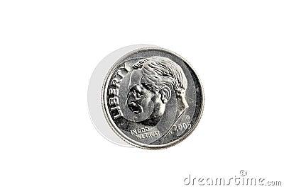 Moneda de diez centavos principal de Estados Unidos de la moneda en el fondo blanco